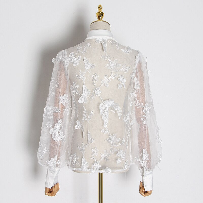 Butterfly Embroidered Lantern Sleeve Blouse In Colors