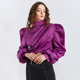 Turtleneck satin blouse in purple