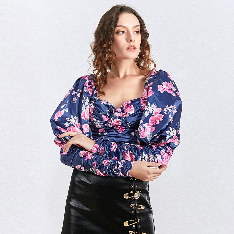 Puff-sleeve ruched floral top