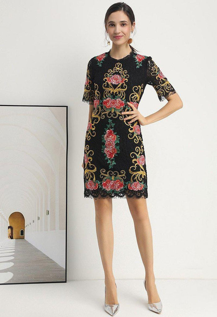 RENEE Embroidered lace mini dress