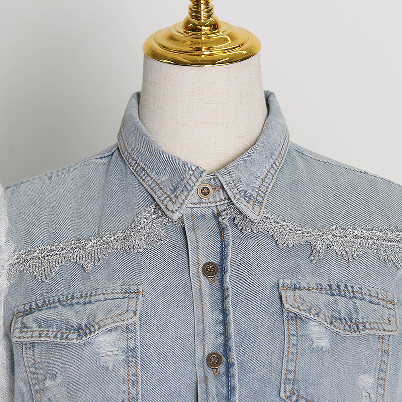 Mesh-sleeved denim shirt