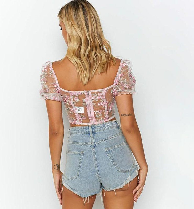 Mesh Embroidered See-Through Crop Top