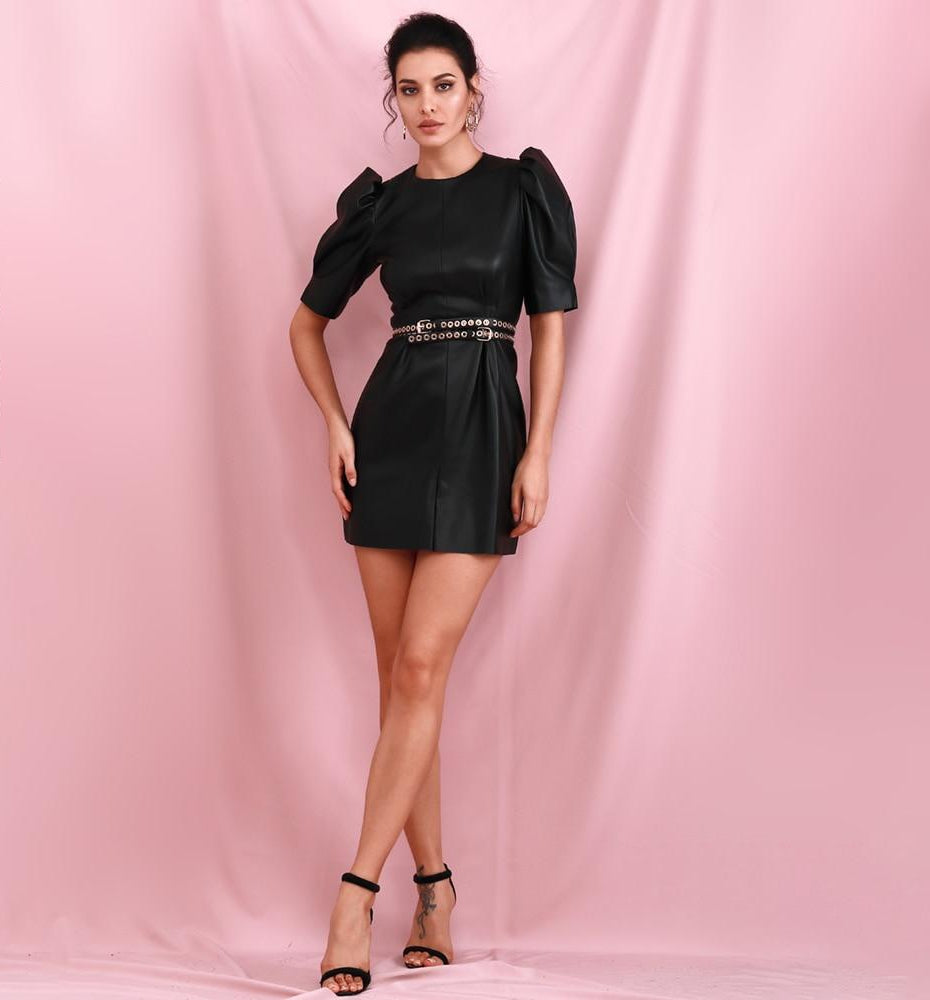 BELLA Round Neck Puff Sleeve Mini Dress