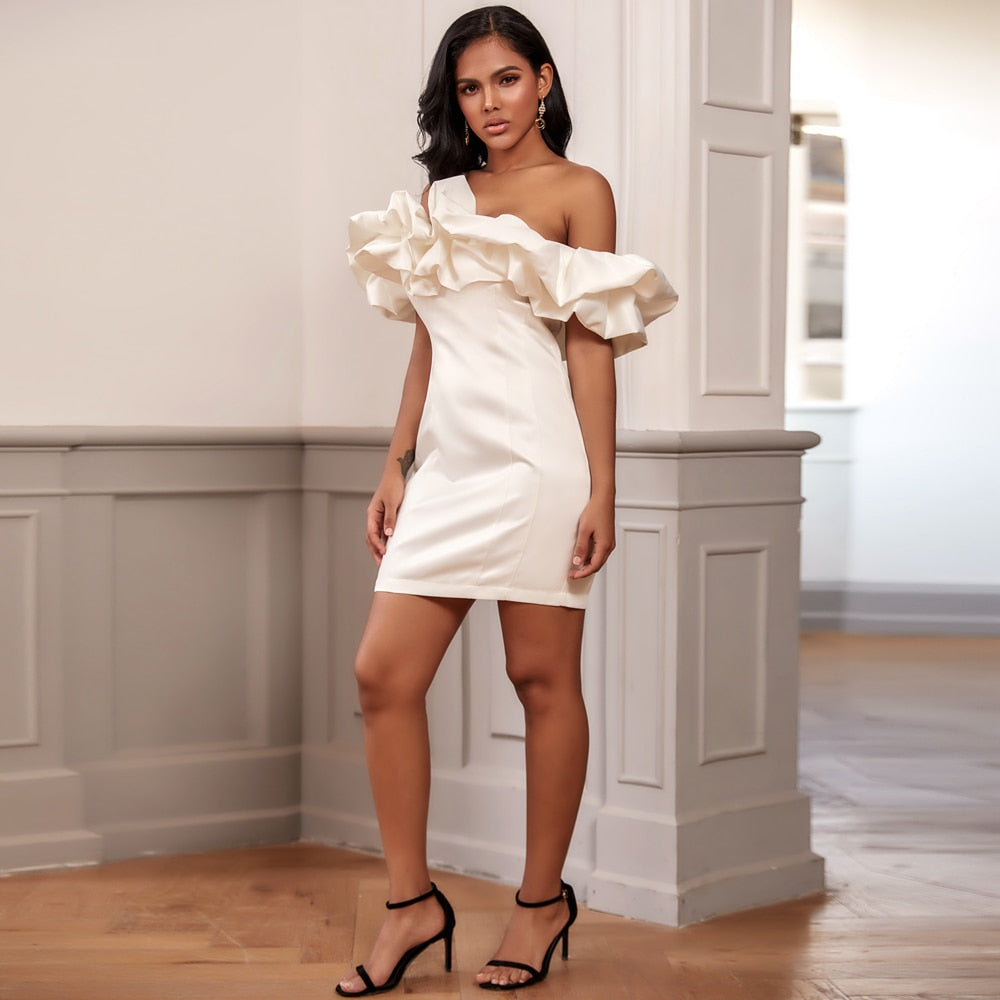 LILY Off Shoulder Frill Mini Dress