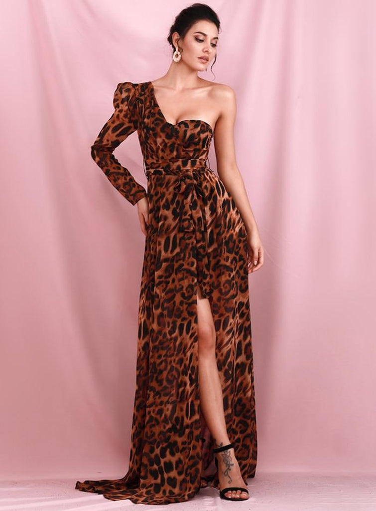 SAFIYA Off-The-Shoulder Leopard Chiffon Whit Split Dress