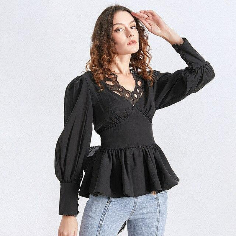MILA Lace V Neck Long Sleeve Tunic