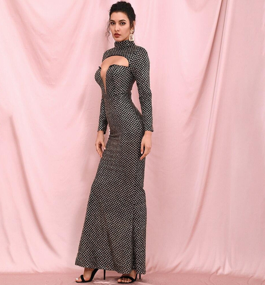 CHARLOTTE Turtleneck Long Sleeve Maxi Dress