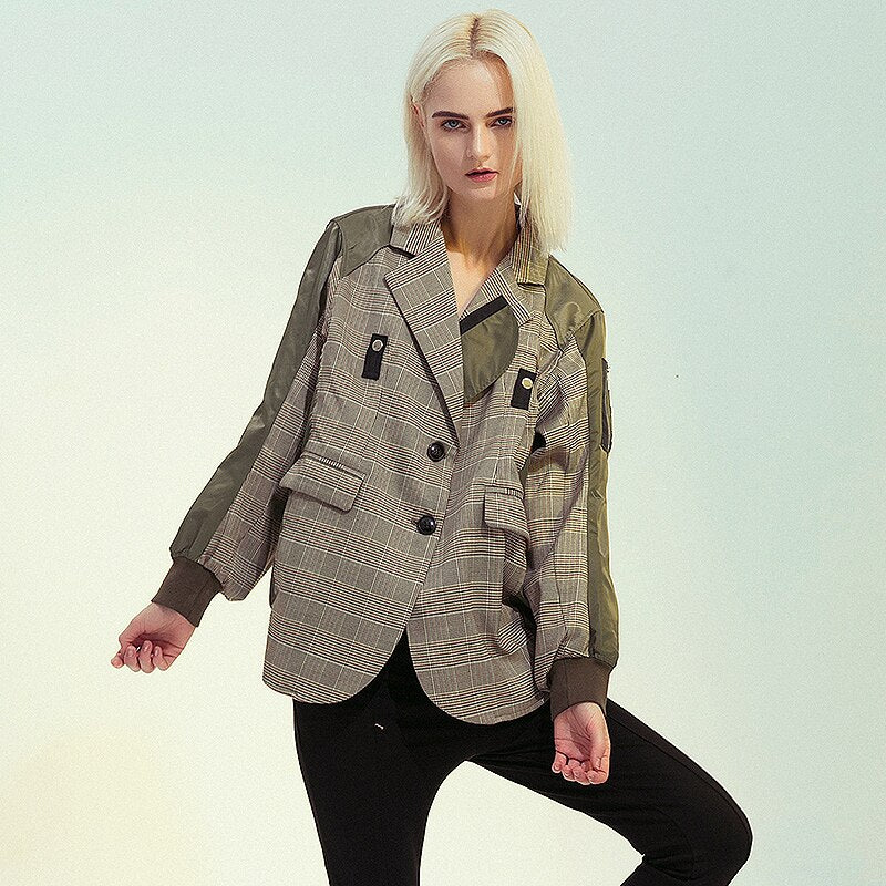 Patchwork plaid lapel jacket
