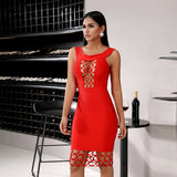 MAGDALEN Red Bandage Bodycon Dress