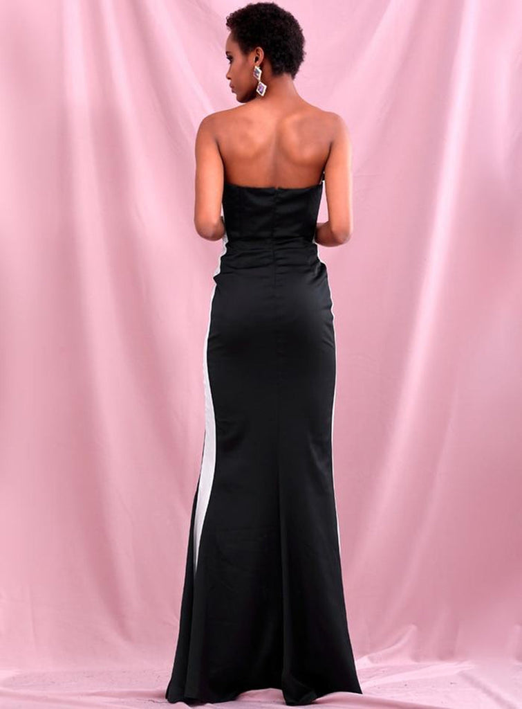 ZIONA Black Tube Slit Gown