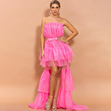LEGACY Multilayer Trail Dress In Pink