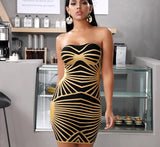 HUDSON Gold Striped Bandage Dress
