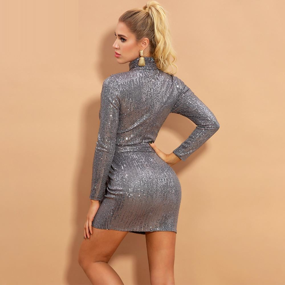 ZINNIA Long Sleeve Sequins Mini Dress