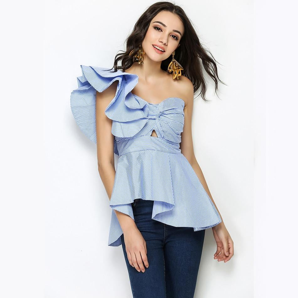 Sweetheart One Shoulder Ruffles Plaid Tops