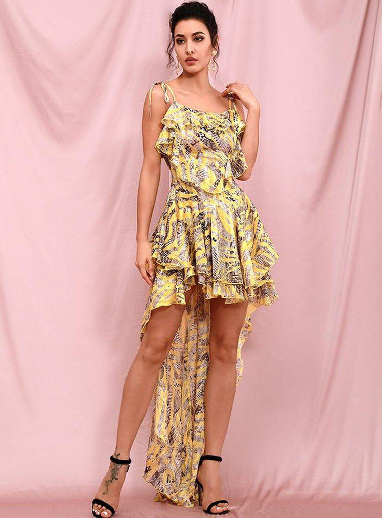 SELENA ruffled floral dress with trail