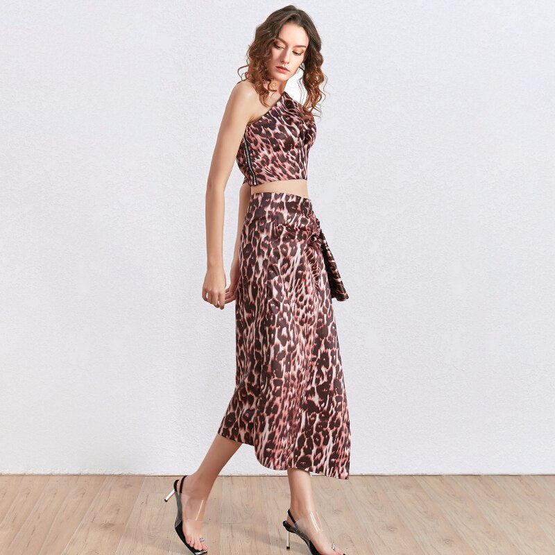 Safari Asymmetric maxi skirt in colors