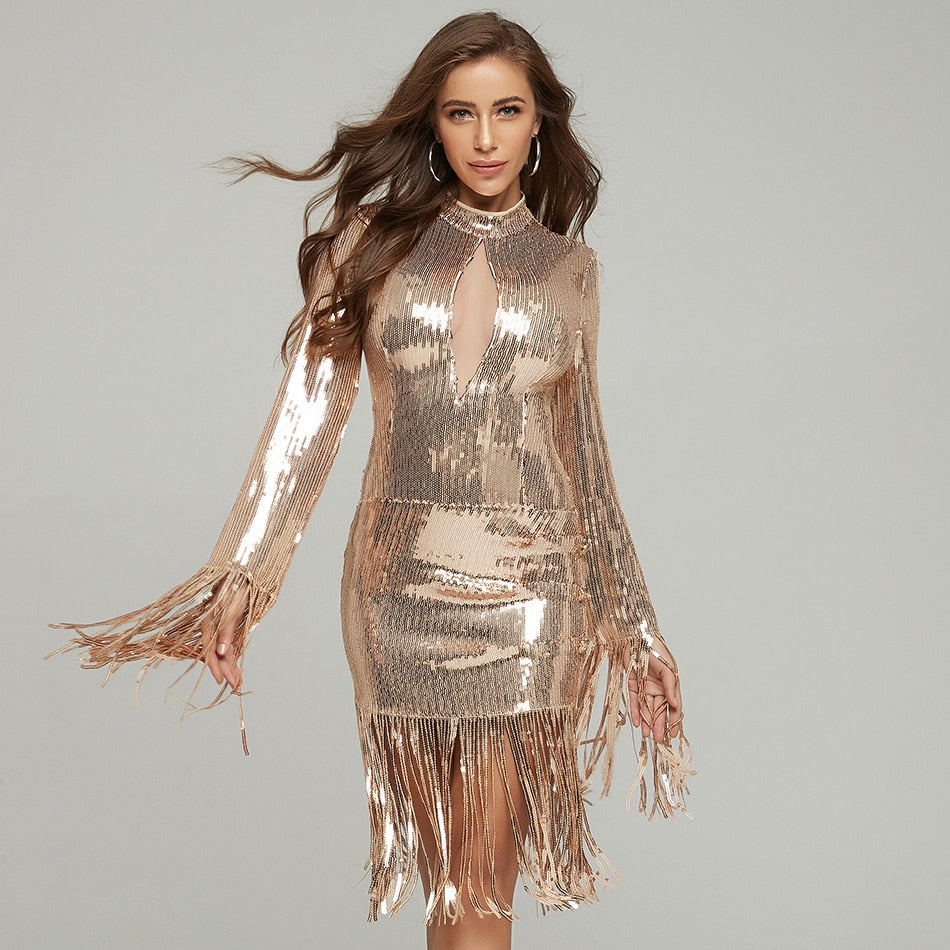 PARISIANA tasseled golden mini dress