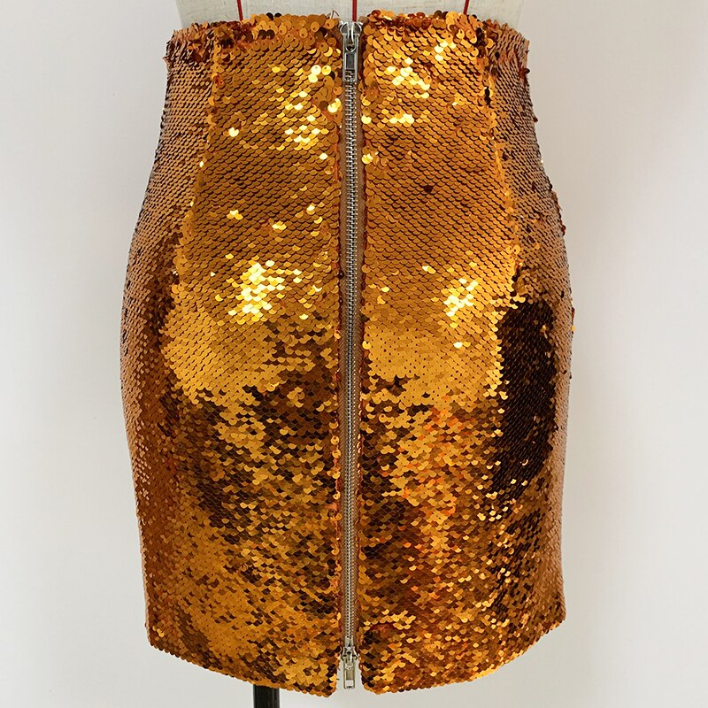 Bronze orange party mini skirt