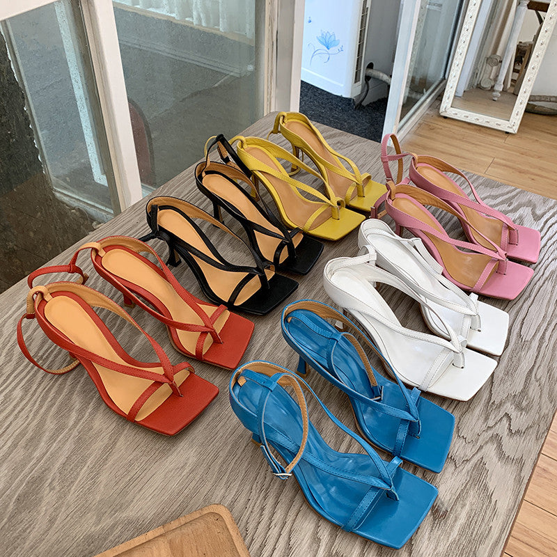 Strappy square-toe sandals in colors