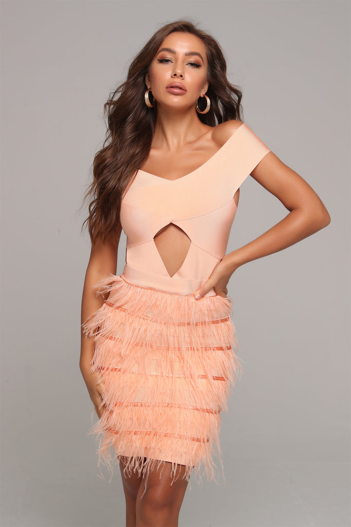 MODELLA off-shoulder feathered party dress