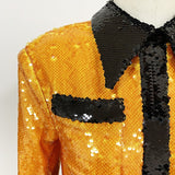 JUSTINE sequinned orange party dress