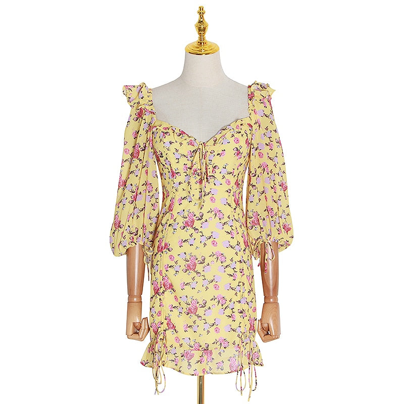 GHARNA sweetheart floral spring dress