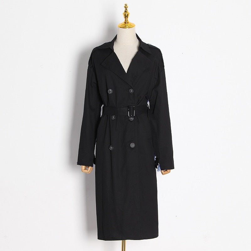 Back Striped Bandage belted Overcoat