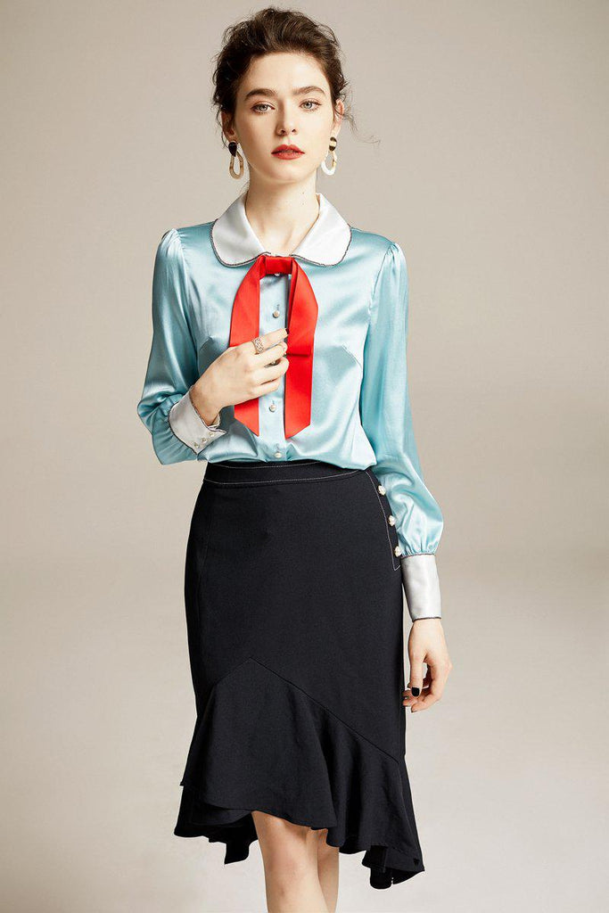 Fairy red bow lapel silk blouse