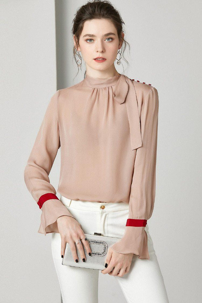 Side sash flare sleeve silk blouse