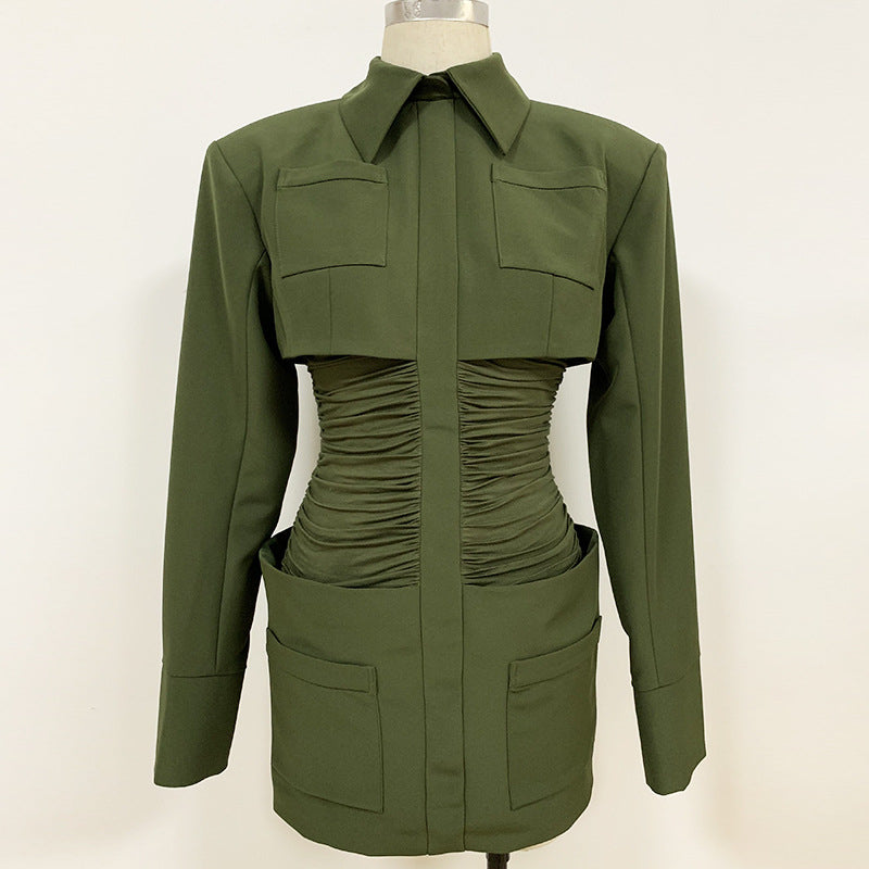 JUSTINE army green party dress