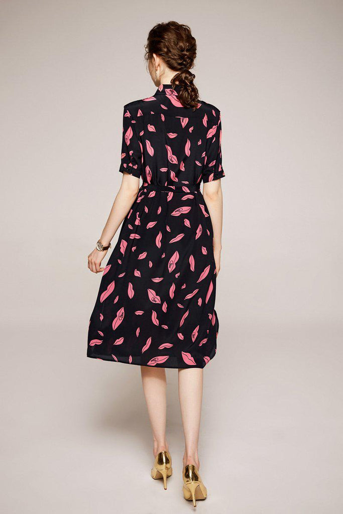 LIPS LIPS belted silk midi dress
