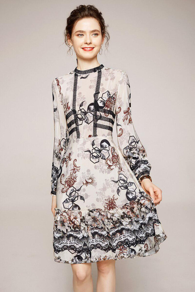 ROWENA Silk printed dress