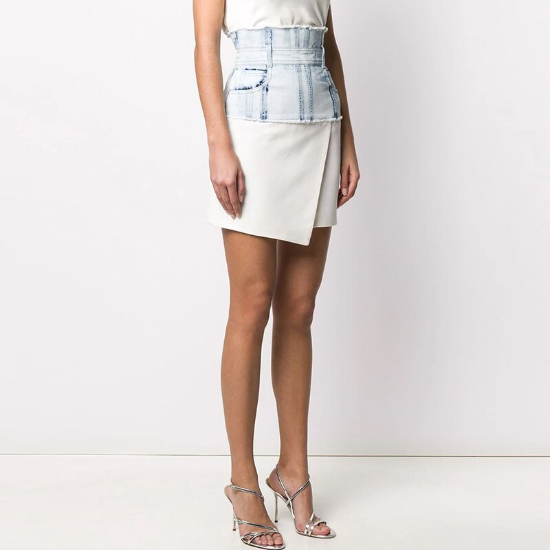 Denim patchwork asymmetric skirt