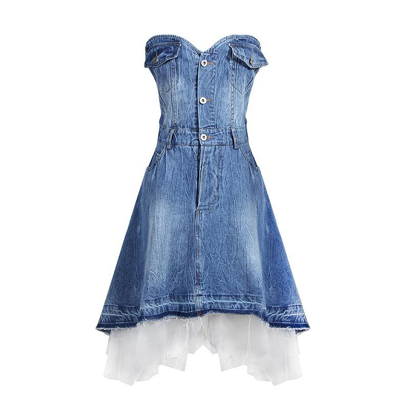 Sweetheart denim patchwork dress