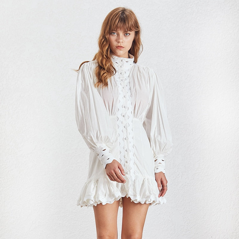 LOTTIE lantern-sleeve eyelet summer dress