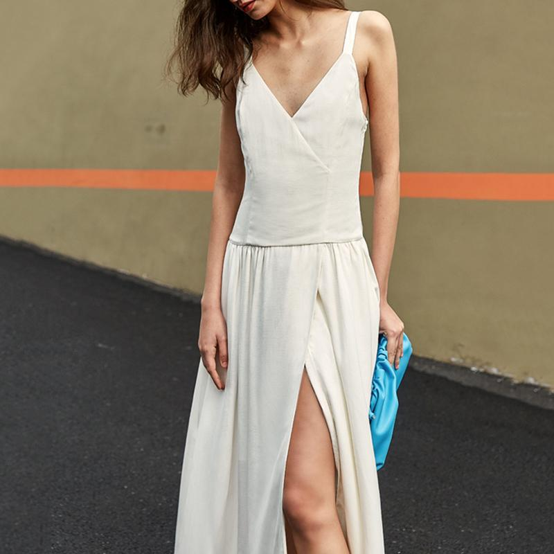 FAYE Spaghetti Slit V-neck Dress