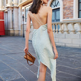 OLIVIA Plaid Backless Slit Dress