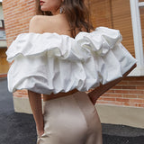 Off-shoulder ruffled holiday top