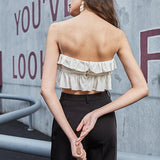 Spaghetti strap ruffled holiday top