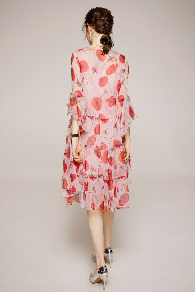 POPPY silk flowing midi dress