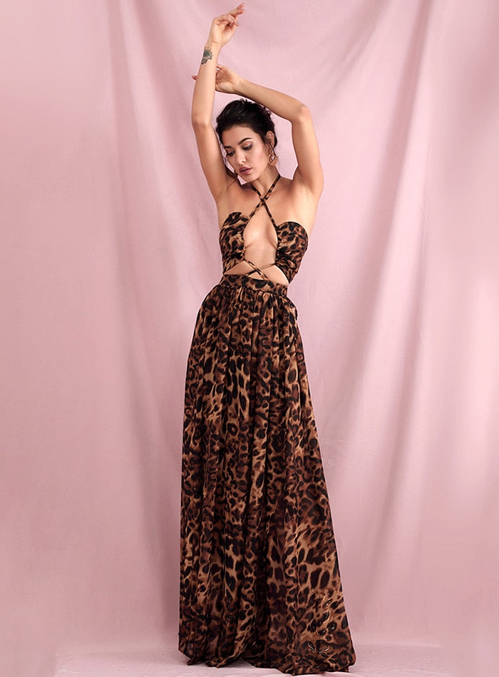 SANTORINI cut out leopard gown