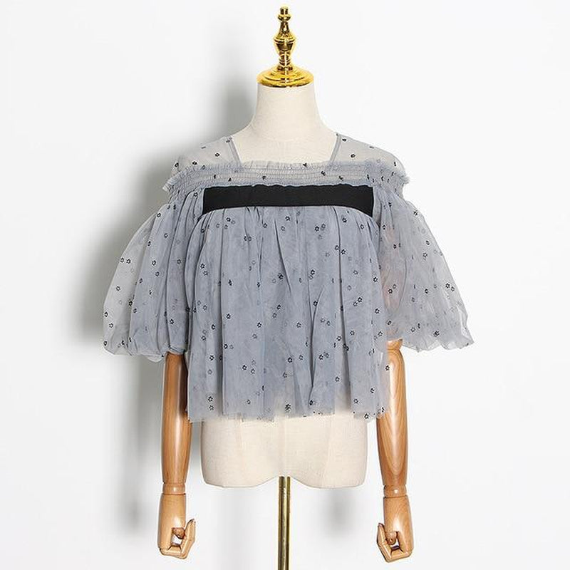 Patchwork mesh short blouse in colors