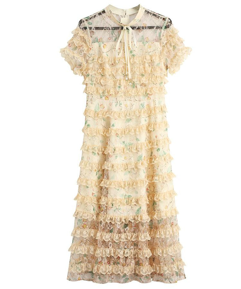 LUCILLE ruffled lace midi dress