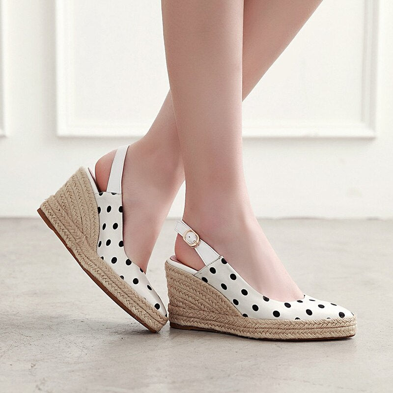 Polka Dot White Wedge Shoes