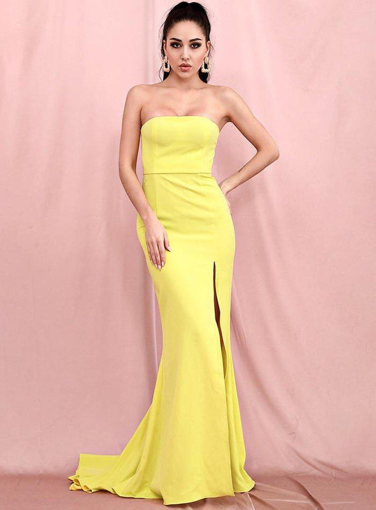 SANTI Tube Bodycon Split Gown