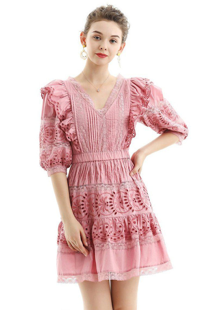 COLEEN Ruffles and Embroidery V-neck Dress