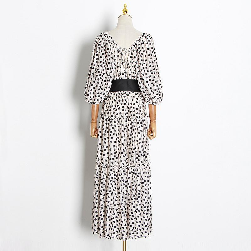 SADIE Polka dot Square Collar bow midi dress