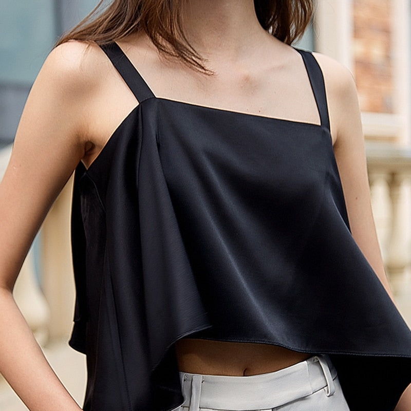 Asymmetric Spaghetti Strap trail crop top