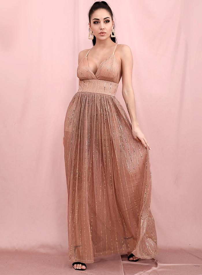 NUDEA V-neck Backless Mesh Maxi Dress