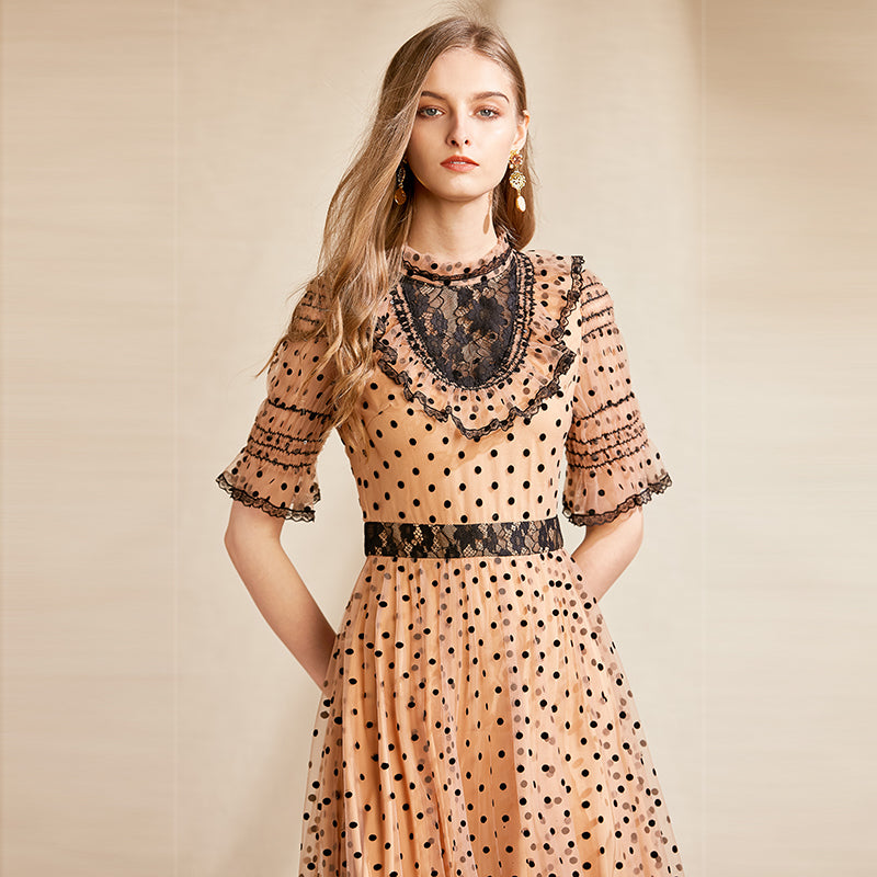 SYLVIA Vintage Polka Dot Mesh Midi Dress
